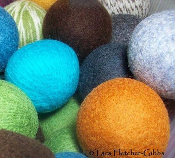 Wool Dryer Balls - Choose Your Own Colors! - Set of 6 - An Eco-Friendly Alternative to the Conventional Dryer Sheet and Fabric Softener!