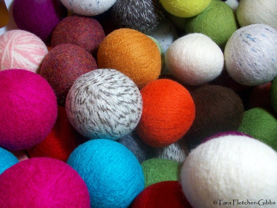 Wool Dryer Balls - Choose Your Own Colors! - Set of 12 - An Eco-Friendly Alternative to the Conventional Dryer Sheet and Fabric Softener!