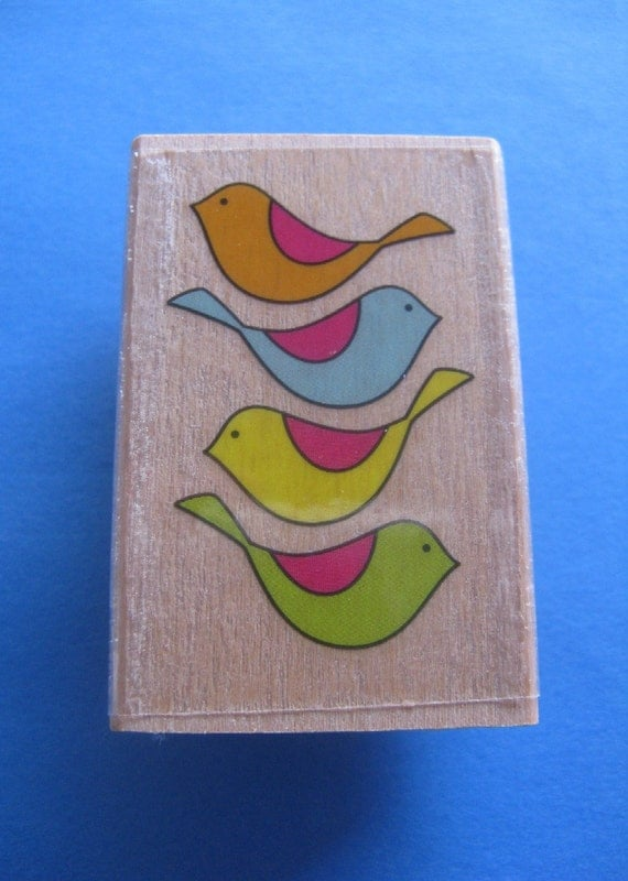4 Retro Birds Rubber Stamp Last One