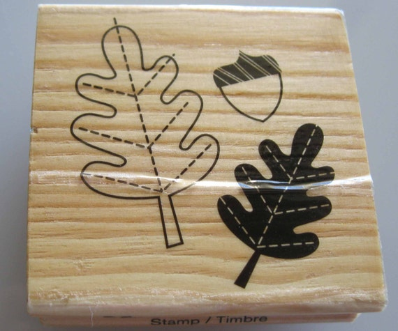 Oak Leaf Acorn Rubber Stamp
