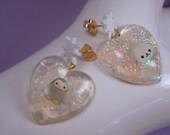 Frosty Friends Earrings Under Resin Asymmetrical set