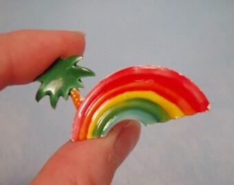 CLEARACNE LAST CHANCE Sale Retro Enamel Rainbow Island Plam Tree Brooch Pin 80s Kids Junk Jewelry Kitch Metal