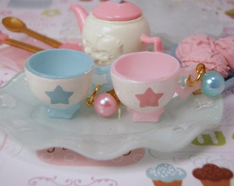 FREE SHIPPING Pastel His and Hers Tea Cup Pearl Star Dangle Post Earrings Pastel pink and Blue