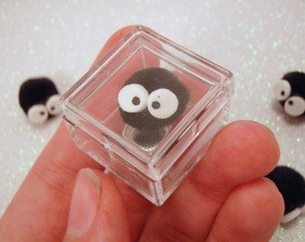 Captured Soot Sprite Capsule Cube Ring Take Along Pet Plastic Cage Ring Clear Kawaii Miyazaki Fan Art Spirited Away Totoro