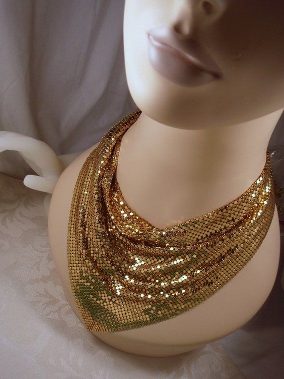 Whiting and Davis Gold Tone Mesh Scarf Bib Necklace