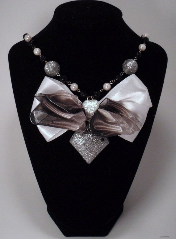High Glam Silver Glittery Resin Cast Faux Diamond Black and White Bow Beaded Necklace Charm Pendant