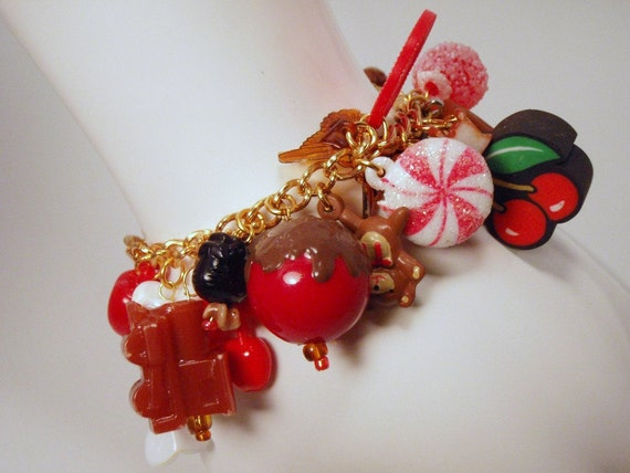 Chocolate Coated Cherries Red Black and Brown Toy Box Charm Bracelet