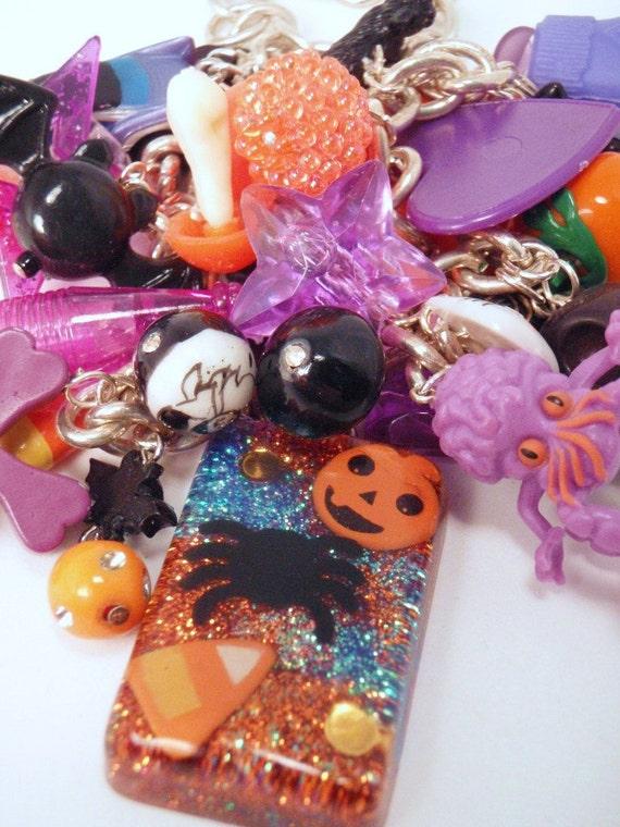 Sweet Creepy and Spicy Halloween Orange Black Purple Under Resin Charm Toy Box Necklace