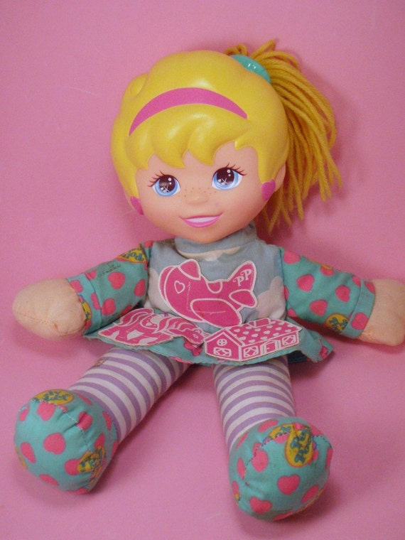 Giant Polly Pocket Plush Rag Doll Pink Green Blue and Yellow