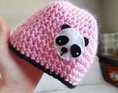 the Panda hat - 6 to 12m - Pink with Panda Bear