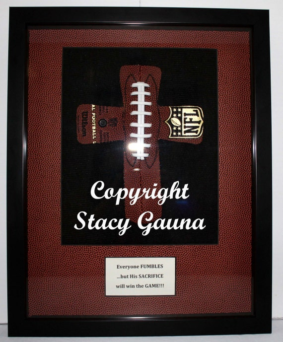 football cross in 11x14 shadowbox frame with football pattern double mat personalized