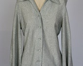 Silver Sixties Metallic Threads Blouse by Daisy's Originals of Miami LARGE