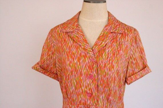 Waitress Style Printed Dress in orange, pink and green LARGE