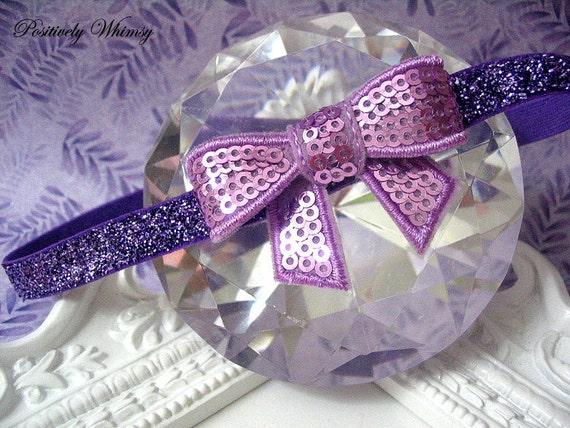 Newborn Baby Headband - Lavender Sequins Bow on Purple Glitter Stretchy Headband