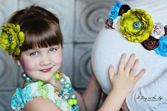 RESERVED for ELIZABETH HANSON - Meadow Blossom Floral Maternity Sash, Bridal Sash, Belt, Headband, Wedding - Photo prop - Gender Neurtral