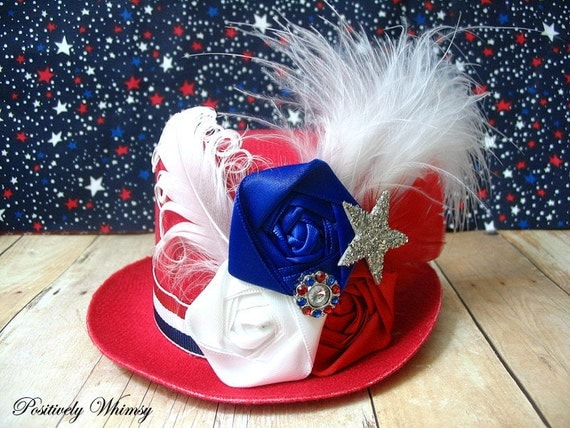 LAST ONE 4th of July Mini Top Hat Hair Clip & Adjustable Red Headband - Photo Prop - Military - Liberty