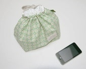 Drawstring Lunch Pouch - Green Pattern