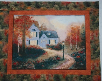 Serene Quilt Top or Table Topper or Wall Hanging with Moda and Thomas Kinkade fabric