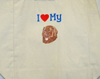 I Love My Newfoundland Brown Dog, Canvas Tote, Market Bag Under 20 Dollars SALE, Ready to Ship TODAY AGFT 129