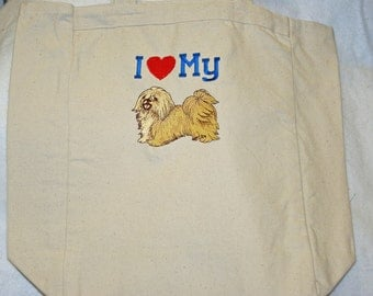 Love My Cairn Terrier Tote, Market, Book, Shopping Bag, Diaper Bag, Personalize With Name, No Shipping Charge, Ready To Ship TODAY, AGT 408