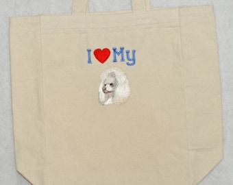 White Poodle Dog, Love My Dog, Book, Market, Tote, Library, School, Personalize With Name, No Shipping Charge, Ready To Ship TODAY, AGFT 542