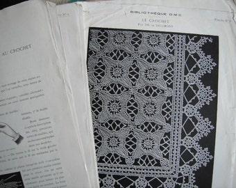 antique bibliotech DMC sheets 10 planches le  crochet et brodiere france