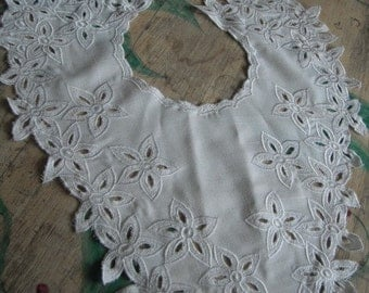 White Cotton V Collar with Floral Cut Work and Embroidery