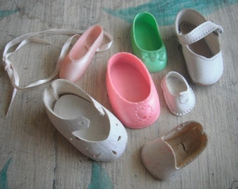 Vintage or Antique Lot of 7 Little Mis Matched Doll Shoes