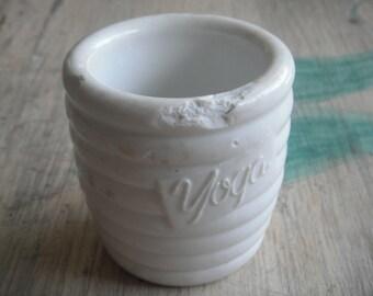 1950 Very Antique heavy ceramic bowl for yogurt