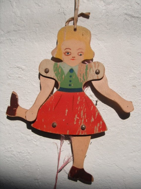 UNIQUE Victorian wooden jumping JACK DOLL
