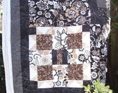 Boehmian Quilt Bedspread - Twin/Double  Brown, Black, Grey & White (Free Shipping)