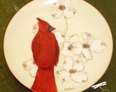 RESERVED for LOVIE:  Vintage Cardinal with Dogwood Decorative Plate