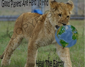 Good Planets Are Hard to Find - Lion Cub - Blank Notecard OR You Choose the Occasion and the Inscription