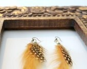 Mustard Yellow Feather Earrings