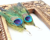 Large Bohemian Peacock Feather Earrings