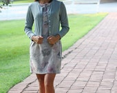 vintage floral dress with sparkly silver jacket/ small-medium/ gray