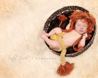 Little Lion Set--Hat and Diaper Cover