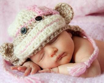 Girl Sock Monkey Earflap Hat