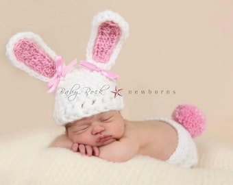 Newborn Bunny Hat & Diaper Cover Set--Perfect for Easter Photos