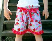 GLORIA Ruffled Shorts with Sash Pattern - Sizes 3M -Girls 8Y