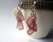 Pixelated Red HeartS Clip On Earrings