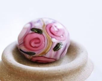 Floral Lampwork Bead, SRA Art Bead, Lampwork Focal Bead