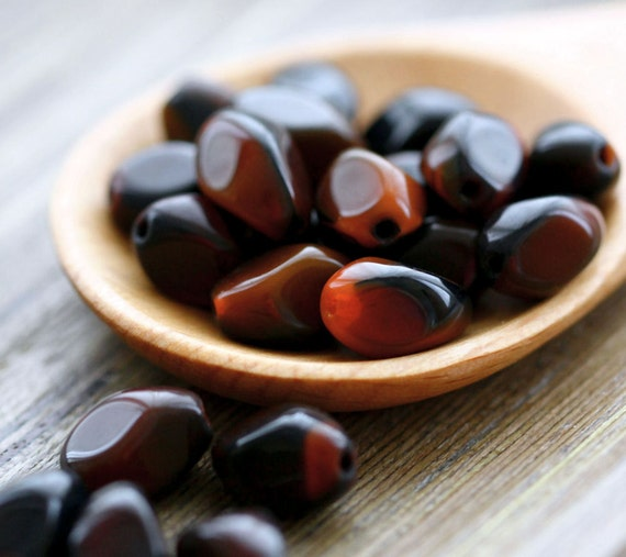 Vintage Brown Glass Bead, Earthy Brown Black Rust Autumn Baroque Glass Beads 11mm