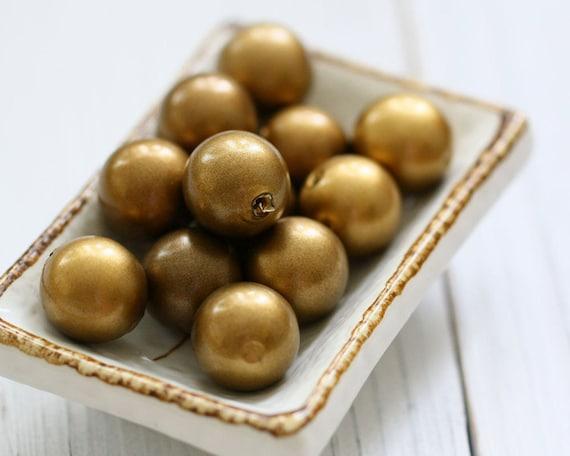 Large Vintage Golden Brown Plastic Beads