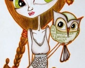 ACEO  Lady with an owl....-  Limited Edition 1