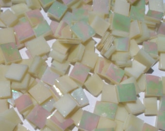 Ivory Pearl Iridized Stained Glass Mosaic Tiles