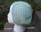 limeade and aqua slouchy spiral hat