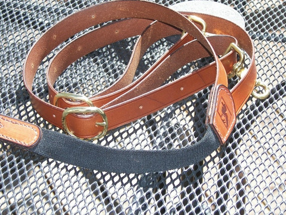 Leather suspenders With belt loop clips