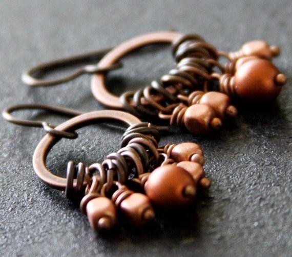 Summers Last Glow- Copper Dangle Earrings, Small Hoop Earrings