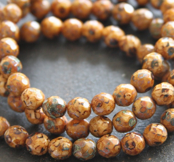 Faceted 8MM Brown with Picasso Finish Czech Glass Beads- 25